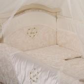 Комплект постельного в кроватку Беби (Версаль Swarovski) Кофе и жемчуг