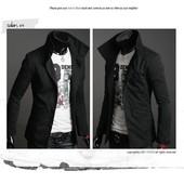 Куртка-пиджак весна -осень, L, хL чёрный (2з