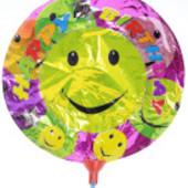 Шарики надувные фольгированные День рождение, смайлик