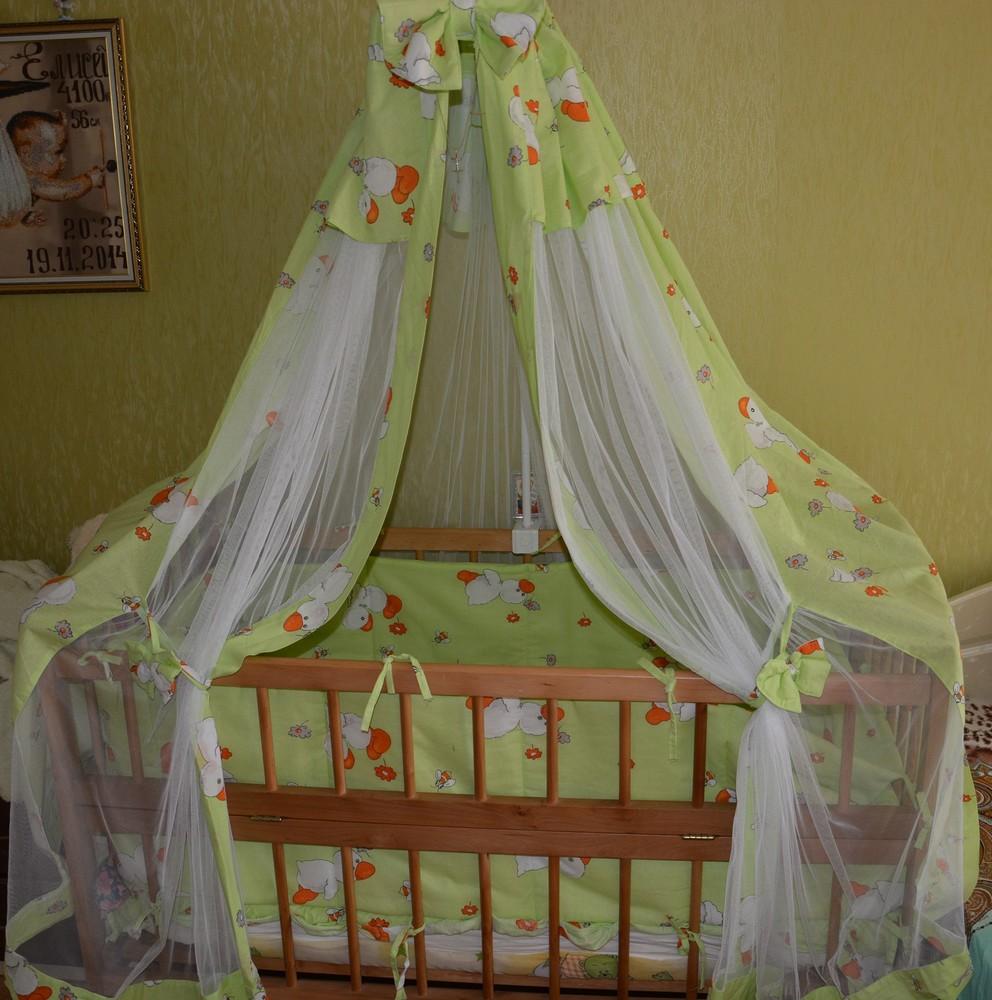 Кроватка + матрас+ постелька +балдахин фото №1