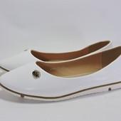 288-68 Женские балетки. Белые. 36