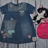 Next некст Обалденное платье сарафан для малышки джинсовый