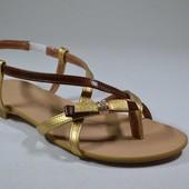 Босоножки натуральная кожа Модель: 06-1, золотой флотар/рыжий рабат