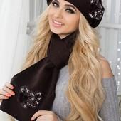 Комплект берет+шарф с обьемной апликацией. В расцветках (8