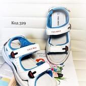 Босоножки летние спортивные белые с голубым