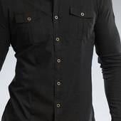 Рубашка стрейчевая черная на кнопках