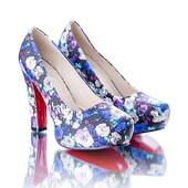 Туфли на каблуке 9262-63 цветочный принт, три рассцветки