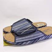 13000-573blue Мужские тапочки на пробке. Цвет-синий, размеры 41-45