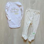 Новый нежный комплект для новорожденной или новорожденного: бодик + ползунки. George. Размер 6-9 мес