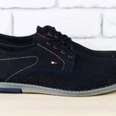 Мужские туфли из нубука  с перфорацией