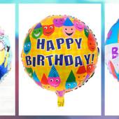 Два больших фольг. шара 50 см одним лотом к дню рождения + набор свечей 24 шт