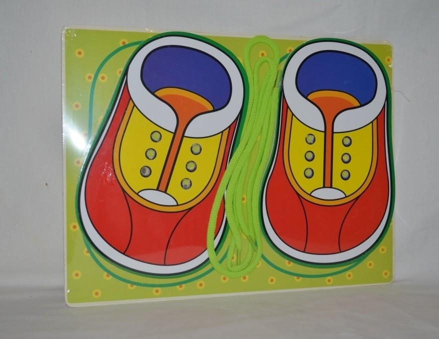 Большая деревянная игрушка шнуровка а4 ботиночки ботинки фото №1