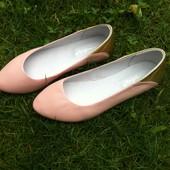 Шикарные кожаные балетки цвета пудры