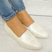 Серебристо-белые туфли (экокожа, Польша)