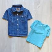 Стильный комплект для модника: рубашка + футболка. Размер 6-9 месяцев