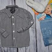 Очень модная фирменная рубашка для мальчика клетка 12 - 18 месяцев подворот рукава