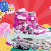 Ролики раздвижные с шлемом и комплектом защиты Swift, розовый: 31-35, 34-38 размер, мягкие PU колеса