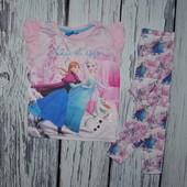 1 - 2 года и 3 - 4 года Обалденная фирменная футболка девочке с принтом Холодное Сердце Эльза и Анна