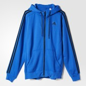 Джемпер Adidas sport essentials 3-stripes fleece hoodie blue оригинал