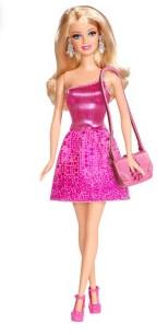 Кукла барби блестящая розовая фото №1