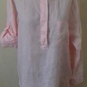 Льняная новая розовая рубашка