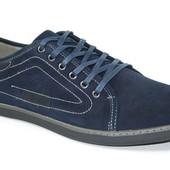 Большие размеры Мужские синие туфли комфорт К3003-1