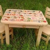 Дитячий комплект з натурального дерева. Ручна робота)))) Стіл, стілець, стол стул