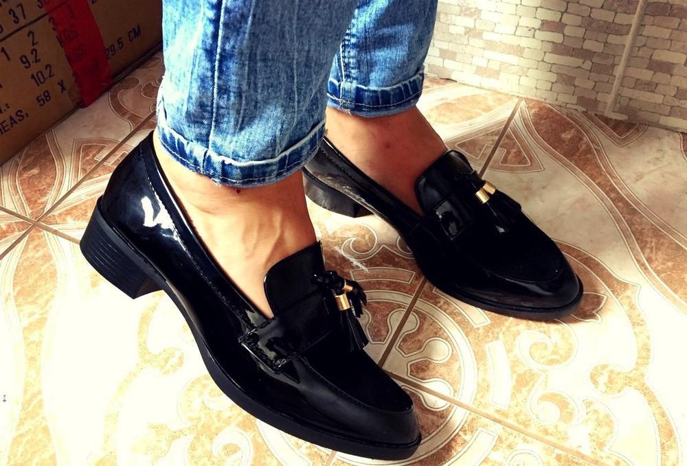 Черные балетки туфли лофферы в Наличии фото №1