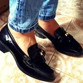 Черные балетки туфли лофферы в Наличии