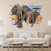 Интерьерные 3D наклейки на стену. Слоны.