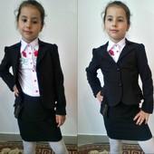 Школьная юбка для девочки черная и синяя