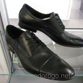 Натуральные черные мужские туфельки