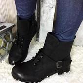 Ботинки женские черные Hermes еко-кожа