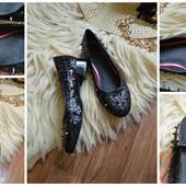 Новые балетки туфли с шипами в блестках,р-р 37-38 размер