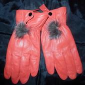 Новые кожаные перчатки,L р-р,цвет яркий,нереально крутые
