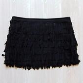 Стильная черная юбка с бахрамой для девочки. Сбоку на молнии. Coolcat (Италия). Размер 13-14 лет