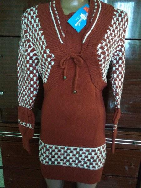 Комплект двойка: платье - туника + балеро - вязанный трикотаж, размер 44. фото №1
