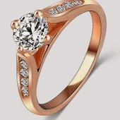 Кольцо с цирконами покрытие золото р 16,17,18,19,20