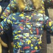 Детские зимние комбинезоны -тройка Самолеты для мальчиков 1-3 года