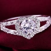 Кольцо покрытие серебро с цирконами Нежное сердце р16,17,19