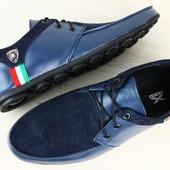 Код: 1974 Туфли мужские мокасины синие на шнурках