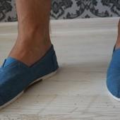 Мужские эспадрильи голубые джинс