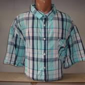 Мужская рубашка с коротким рукавом в клетку OWK, большие размеры