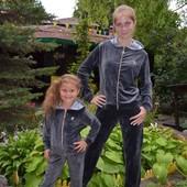 Велюровый спортивный костюм женский, мама и дочка