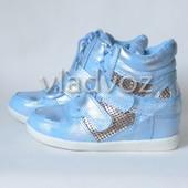 Модные демисезонные сникерсы, ботинки для девочек от 30, 32, . JiLi. голубые