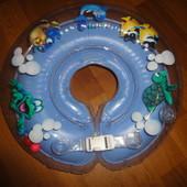 Качественный круг для плавания Дельфин с ручками и погремушками купания, ванной, надувной