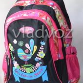Школьный рюкзак ортопедический для девочек чёрный с розовым