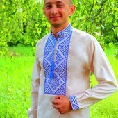 Вышитая мужская сорочка вышиванка лен красная и синяя