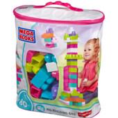 Конструктор Mega Bloks в сумке 80 деталей Первые строители Розовый