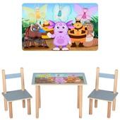 Детский столик деревянный f063, 2 стульчика,Лунтик